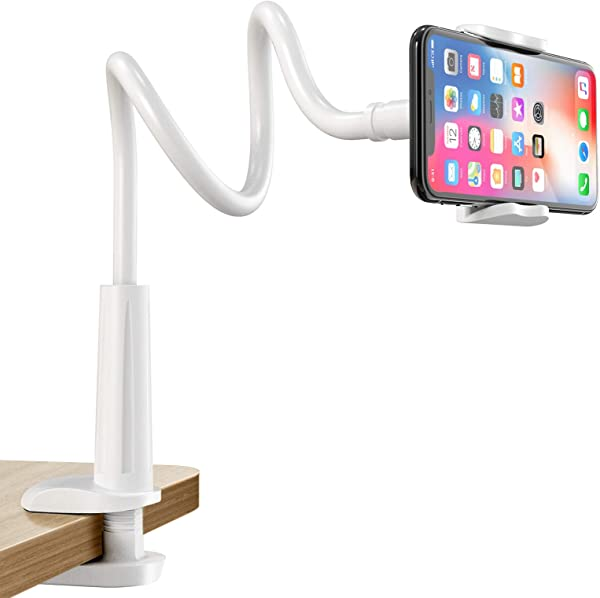 Gooseneck Cell Phone Holder, Universal 360 Flexible Phone Stand Lazy Bracket Mount Long Arms Clamp for Phone 11 Pro Xs Max XR X 8 7 6 6s Plus and Other 3