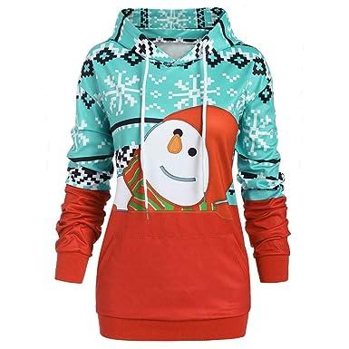 a78afd8db03e27 Bovake Weihnachten Damen Schneemann Printed Sweatshirt Mit Kapuze Women  Winter Longsleeve Kapuzenpullover Warm Pullover Langarm Sweater