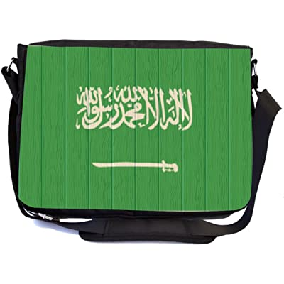 Rikki Knight Saudi Arabia Flag on Distressed Wood Design Multifunctional Messenger Bag - School Bag - Laptop Bag - with padded insert for School or Work - Includes UKBK Premium coin Purse