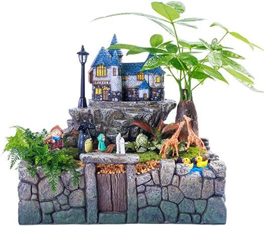 KOKOF Maceta Jardín en Maceta Plantas, jardín con macetas de Resina de Micro-Resina de la luz, Mesa de Oficina Ornamentos en macetas Verdes,: Amazon.es: Hogar