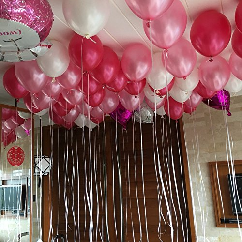 100 pcs Latex Balloons 12 inch 2.8g Birthday Wedding Supply Kids Toy (Pink&red (Gift Bag Balloon Weight)