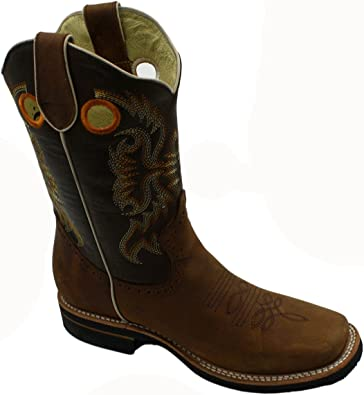 FREE SHIPPING Men cowboy boots Genuine Cowhide Leather Square Toe Rodeo Western