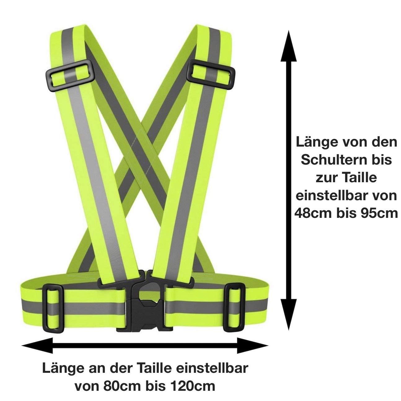 Set da 2 Regolabile Avana Gilet Catarifrangente di Sicurezza per Adulti e Ragazzi Ciclismo Moto ad Alta visibilit/à Corsa per Jogging