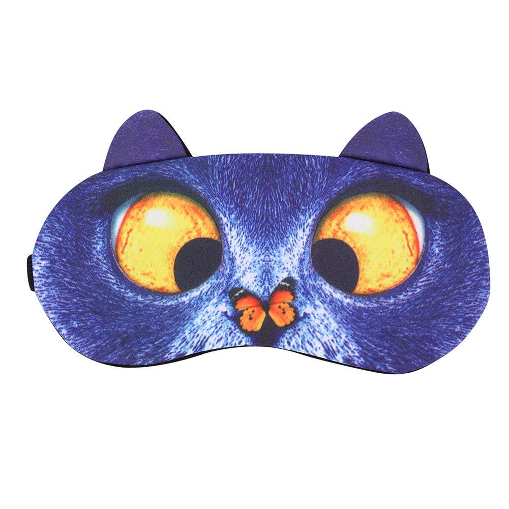 Comfortable Sleep Eye Mask Cartoon Eye Mask Cute Animal Sleep Mask Funny Cat Pug Dog Shape Travel Sleeping Aid Mask Sleep Shade Eye Cover with Ears Block Out Light Plush Sleep Eye Mask for Women Men