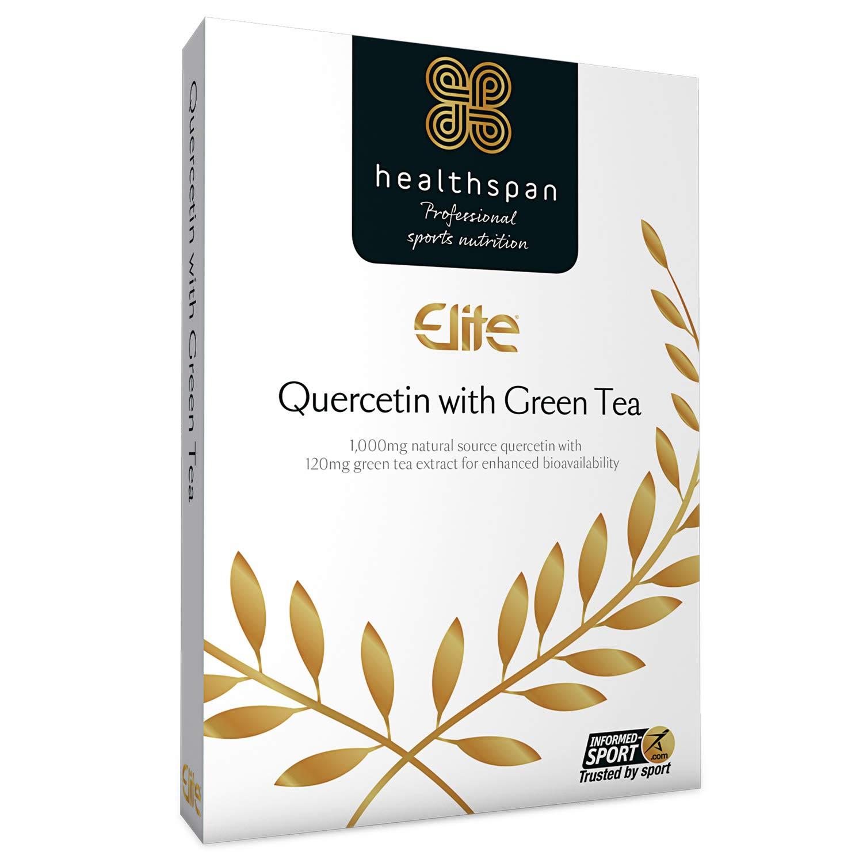 Quercetin with Green Tea | Healthspan Elite | 90 Capsules | All Blacks Official Partner | Informed Sport Accredited | 1,000mg Natural Source Quercetin | 120mg Added Green Tea | Vegan