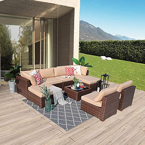 (Patiorama 9PC Outdoor Patio Furniture Set All Weather Wicker Patio Sectional Sofa Set with Corner Sofa Chair Ottoman Table, Beige)