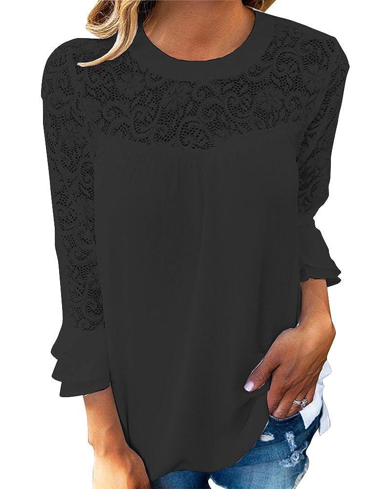 Mujer Camiseta Blusa Mangas Largas Elegante Hombros Abiertos Casual Oficina: Amazon.es: Ropa y accesorios