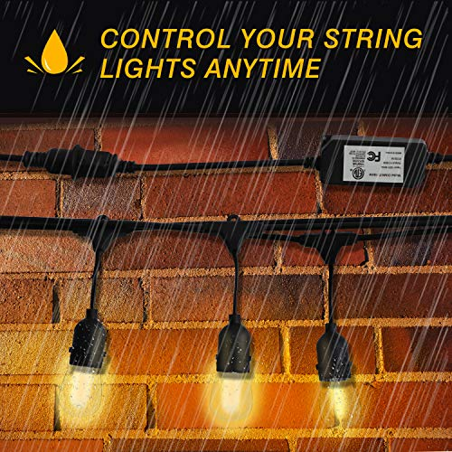 Foxdam Wireless Remote Control Dimmer,Max Power 180W,Outdoor Dimmer for The String Lights,Memory,150Ft Max Range,IP68 Waterproof, Stepless Dimming,Plug in Dimmer Switch(ONLY for LED DIMMABLE Bulb) by Foxdam (Image #5)