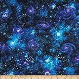 Stargazers Space Dust Dark Nightfall Fabric By The Yard