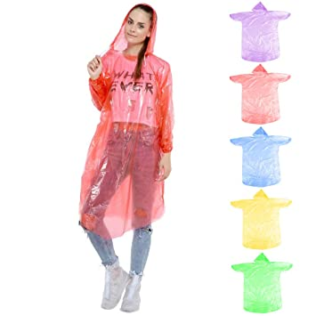 OFNMY 5 Pcs Colorful Disposable Rain Poncho Emergency Rain Coat with Drawstring Hood Thicker Material Unisex Perfect for Festivals Camping and Theme Parks