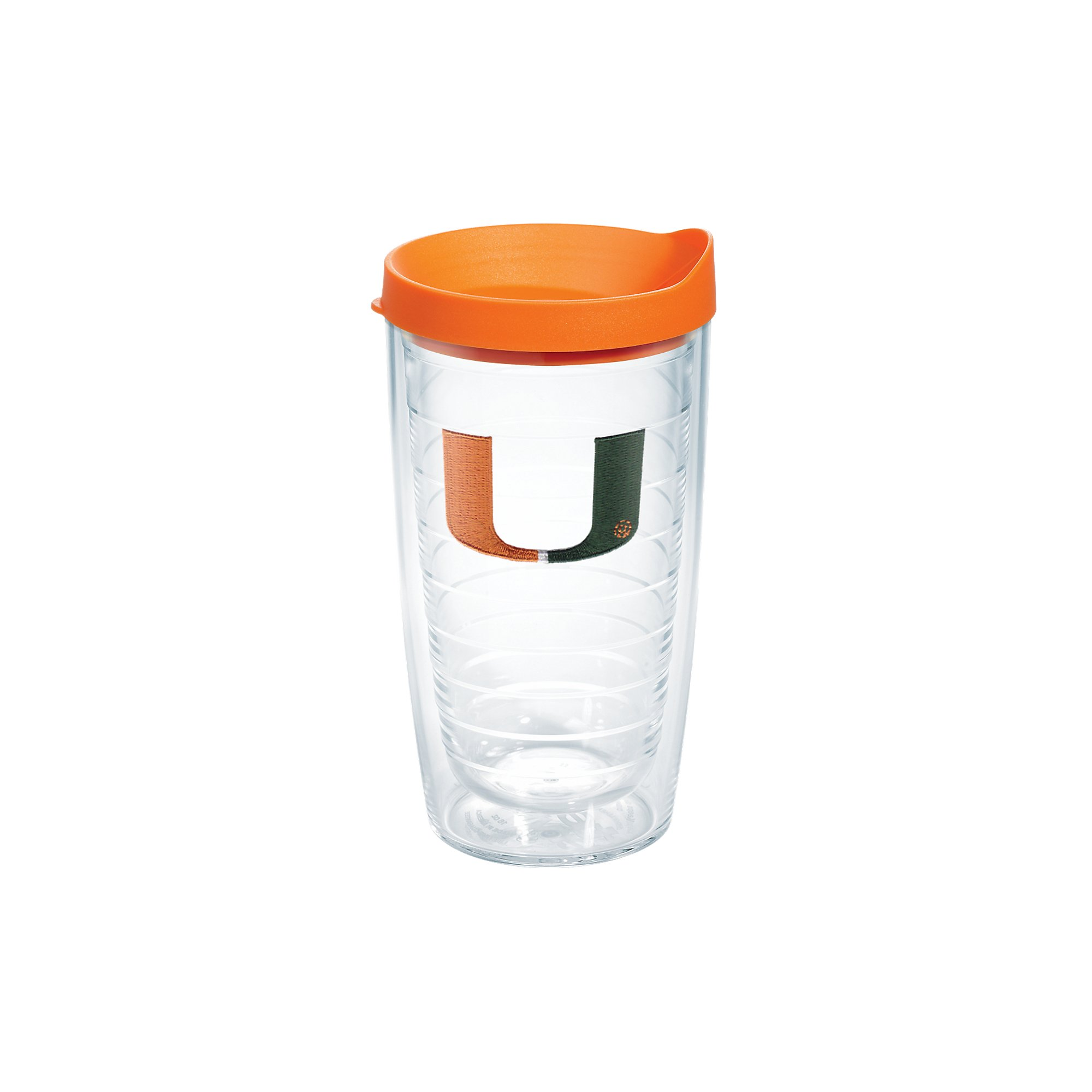 Tervis 1056610 Miami Hurricanes Logo Tumbler with Emblem and Orange Lid 16oz, Clear