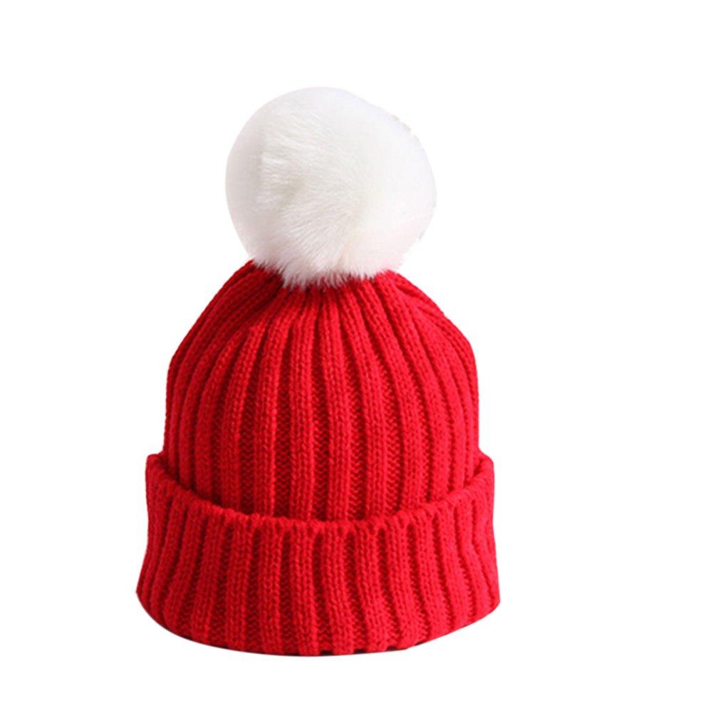 Bluelans® Kids Chidren Girls Boys Warm Winter Faux Fur Hat Knitted Fur Pom Pom Beanie Winter Hats
