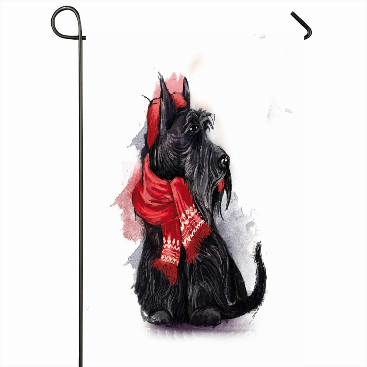 "Ahawoso Outdoor Garden Flags 12""x18"" Inch View Watercolor Christmas Black Scottish Terrier Wearing Red Hat Wildlife Dog Pet Winter Beret Design Vertical Double Sided Home Decorative House Yard Sign"