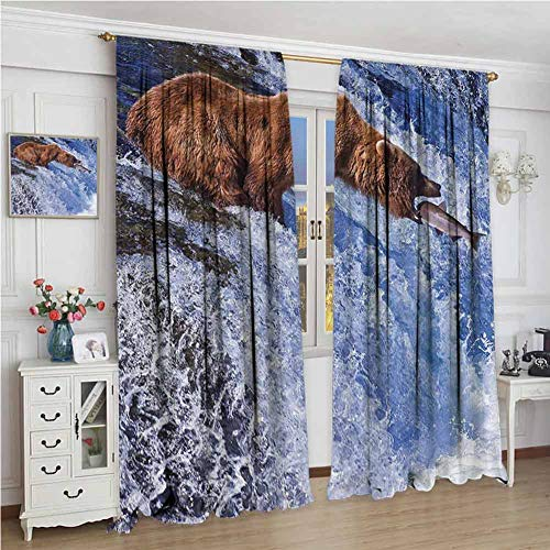 GUUVOR Nature Heat Insulation Curtain Grizzly Bear at Katmai National Park Alaska Waterfall Catches Fish Wildlife Picture for Living Room or Bedroom W108 x L72 Inch White Brown