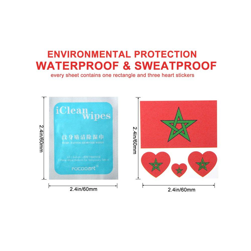 Blanketswarm 20 Hojas FIFA World Cup Top 32 Naciones Pequeña Cuerpo Cara Pegatina Banderas Nación Bandera Temporal Tatuaje Pegatinas 60 x 60mm (Marruecos): ...