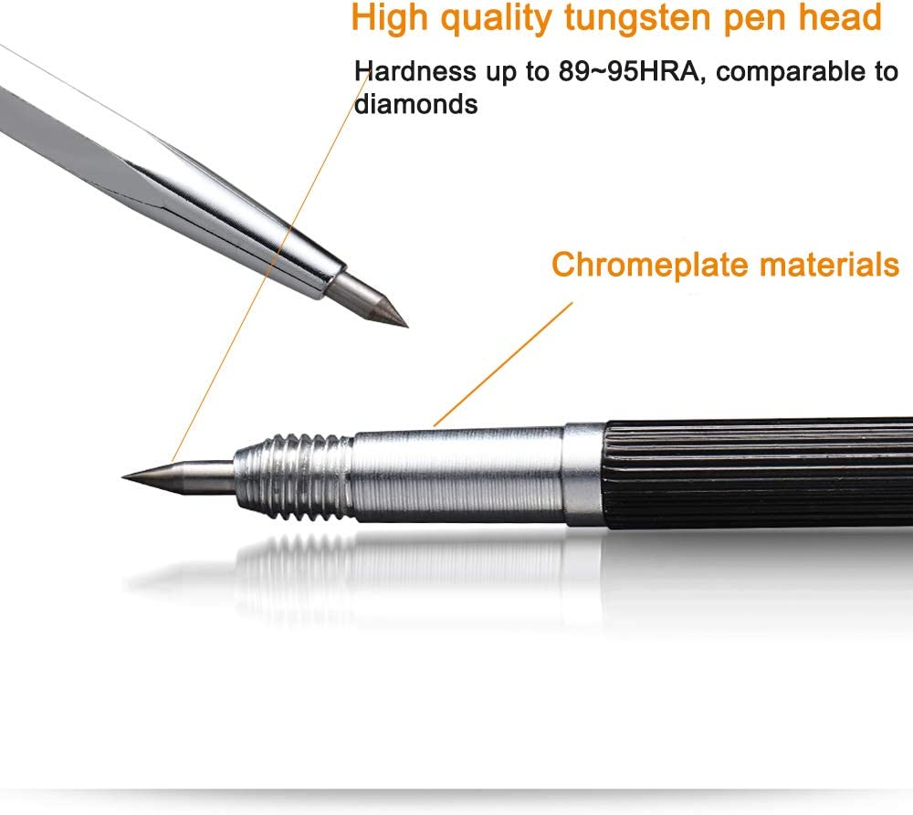 2 Pack double scriber Automatic Center Punch 9.5 mohs hardness super sharpe Safe escape tool professional scribe for Glass Metal Wood Ceramics Stone