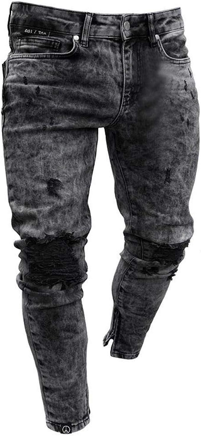 iHAZA Mens Skinny Stretch Pantaloni Denim Strappato Sfilacciato Slim Fit Jeans Pantaloni