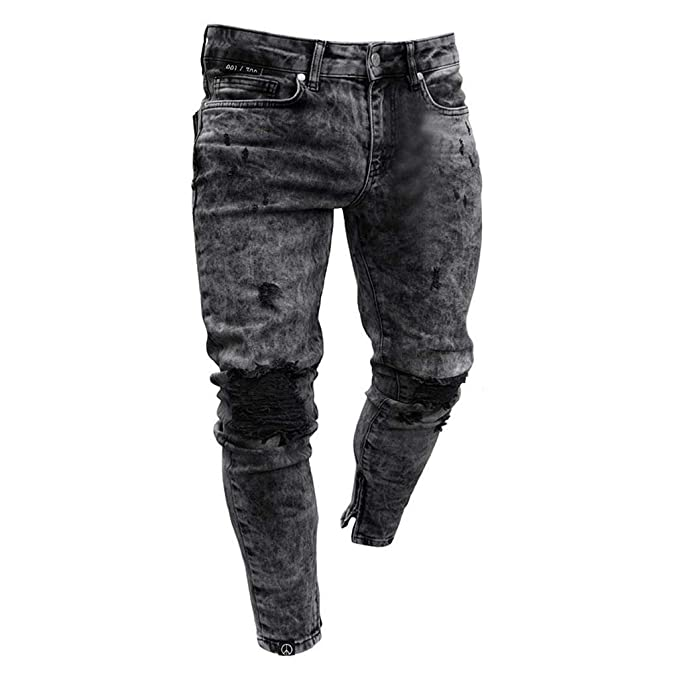 4b94f268dea0 Mens Skinny Jeans Fashion Teen Boys Stretch Slim Fit Ripped Destroyed  Distressed Snow Wash Denim Jeans Pants Boys