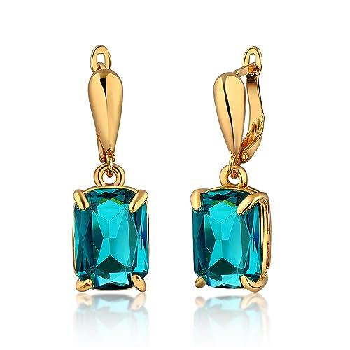 84ec414f6 dnswez 14K Gold Plated Square Cube Long Straight Strip Teardrop Earrings  Clip-Ons for Women