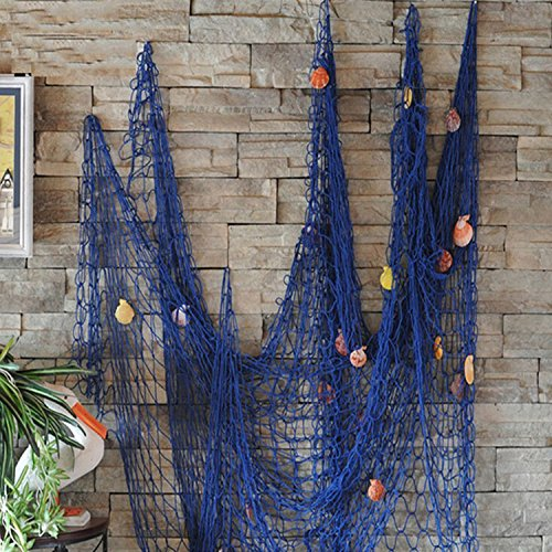 (FirstDecor Blue Creative Mediterranean Style Nautical Fishing Net With Shells Seaside Beach Party Wall Decoration)