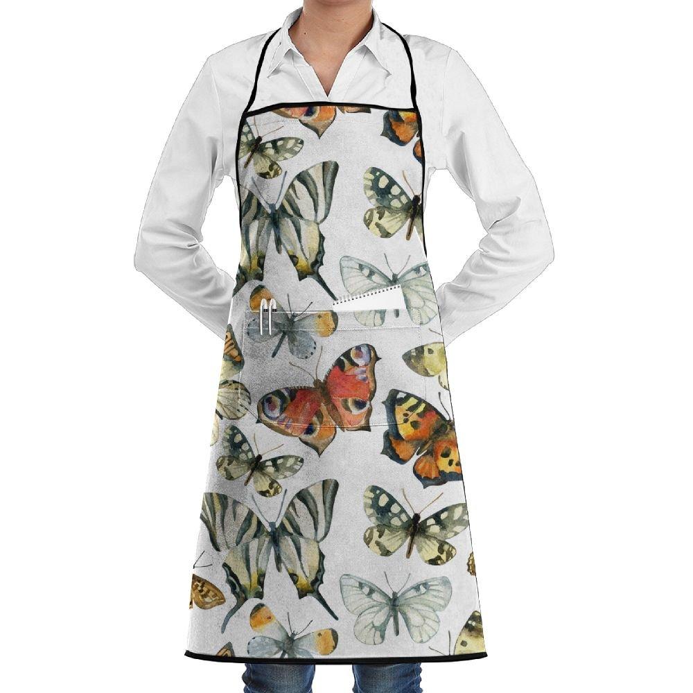 水彩バタフライポリエステルキッチンエプロン料理Baking Gardenシェフエプロンよだれかけポケット付きレディース/メンズ   B07F5HLZ4R