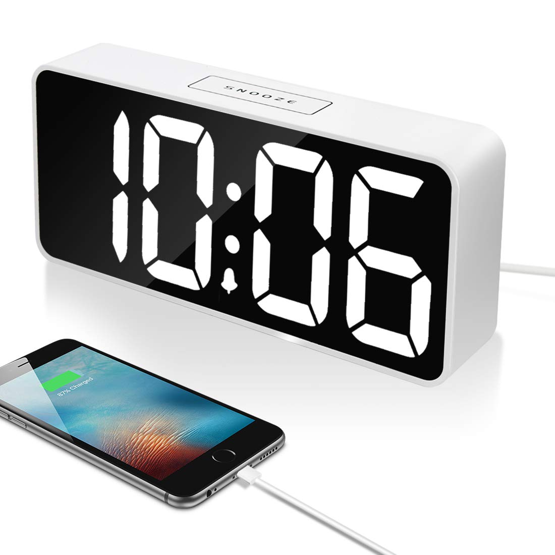 """9"""" Large LED Digital Alarm Clock with USB Port for Phone Charger, 0-100% Dimmer, Touch-Activated Snooze, Outlet Powered (White)"""