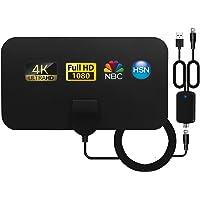 Antena TV Interior, Ultra Plana Antena TV,Antena de TV HD Digital Interior con Amplificador de señal, Alcance de hasta…