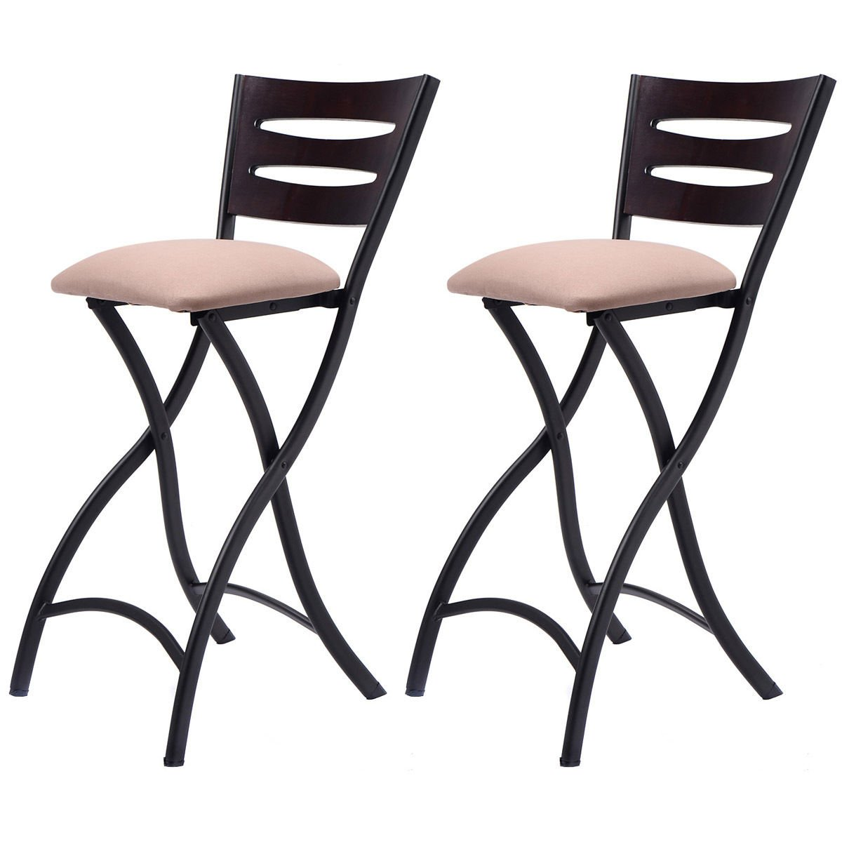 New Set of 2 Folding Bar Stools Counter Height Bistro Dining Kitchen Pub Chair