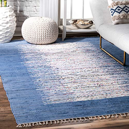 nuLOOM Madison Collection Contemporary Hand Made Area Rug, 8-Feet by 10-Feet, Denim