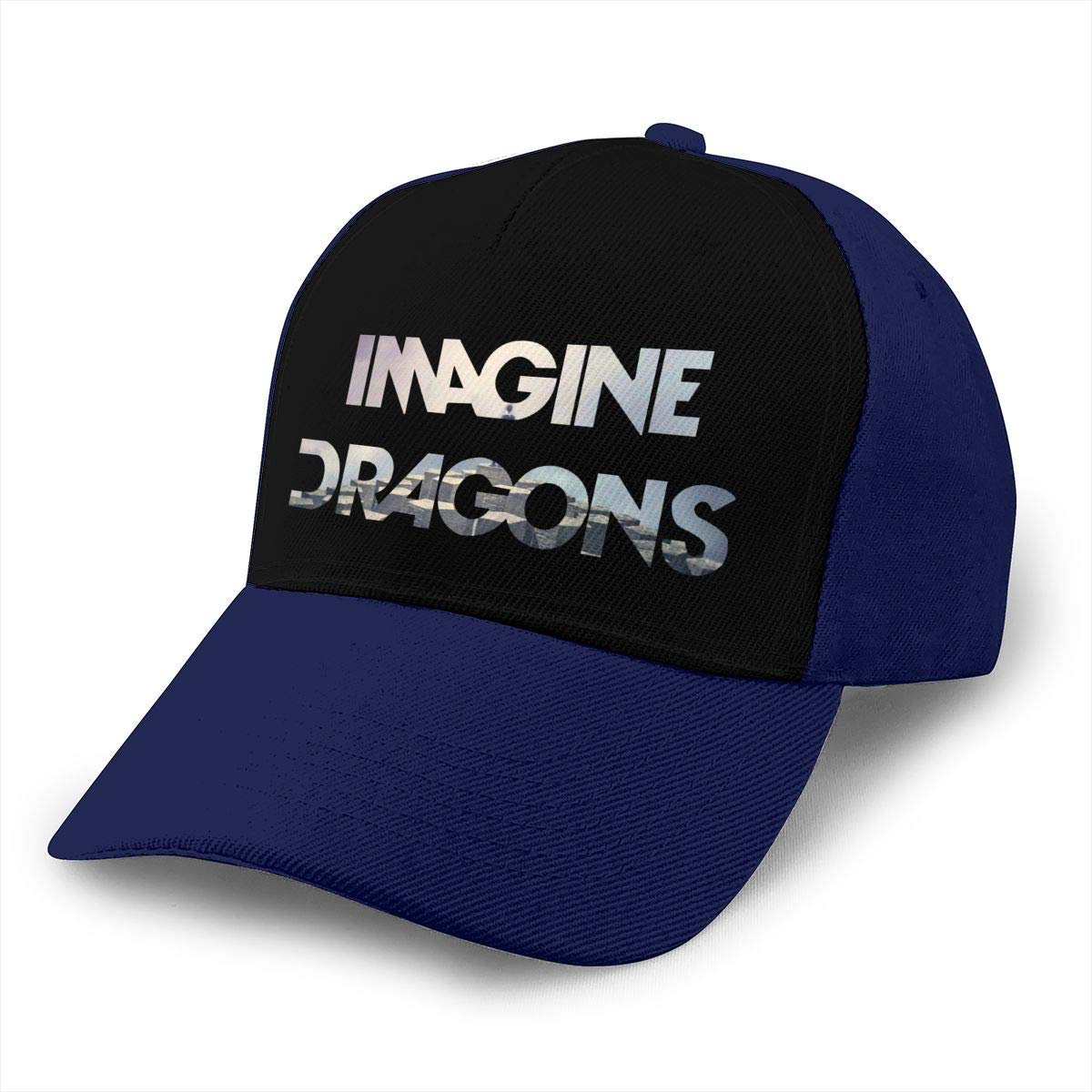 Adjustable Women Men Imagine The Dragons Print Baseball Cap Flat Brim Cap Hats Hip Hop Snapback Sun Hat Boys Girls Navy by Apolonia