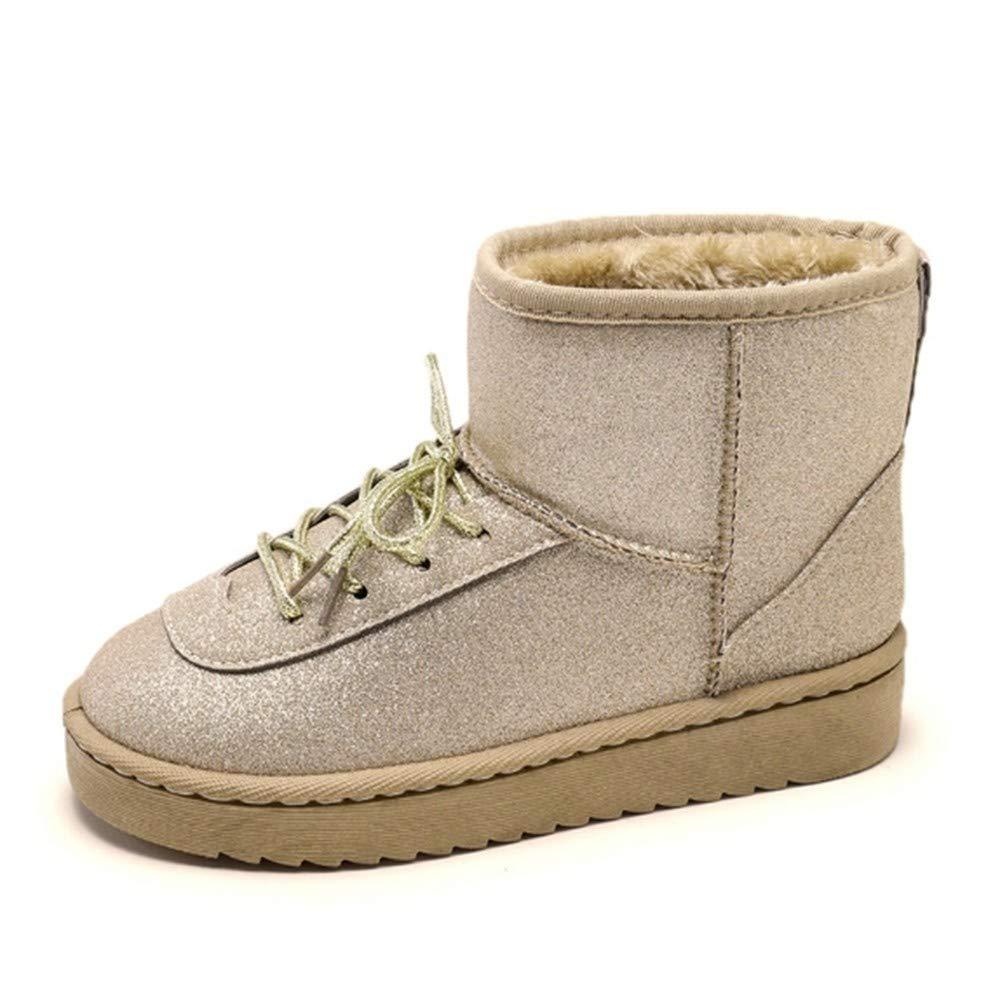 YSFU Stiefel Frauen Schnee Stiefel Schnüren Bequeme Warme Schuhe Damen Stiefelies Flache Anti Slip Schuhe Casual Herbst Winter Outdoor Turnschuhe