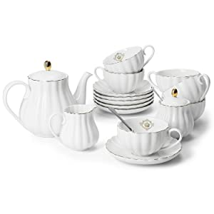 Amazingware Porcelain Tea Set - Tea Cup and Saucer Set Service for 6, with 28 ounces Teapot Sugar Bowl Cream Pitcher Teaspoons and Tea Strainer - for Thanksgiving - Pumpkin Fluted Shape, White