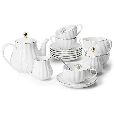 Amazingware Porcelain Tea Set - Tea Cup and Saucer Set Service for 6, with 28 ounces Teapot Sugar Bowl Cream Pitcher Teaspoons and Tea Strainer - for Thanksgiving - Pumpkin Fluted Shape, White