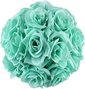 Silk Flower Balls Wedding,6 inch Artificial Flower Rose Flower Kissing Balls for Wedding Ceremony Birthday Garden Home Decoration