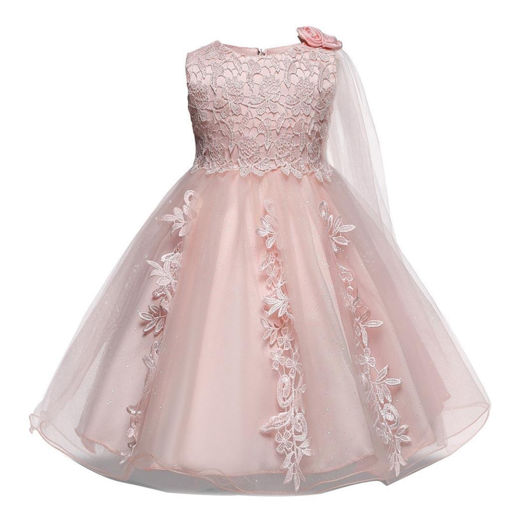 kaiCran Fashion Girls Dress Bridesmaid Pageant Tutu Tulle Gown Party Wedding Sundress (Pink, 80)