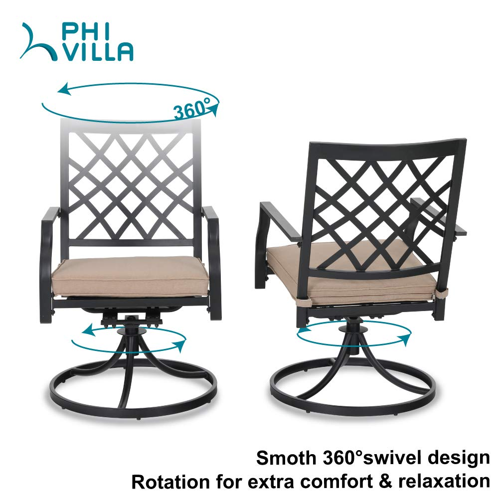 Outdoor Metal Swivel Chairs Set of 2 Patio Dining Rocker Chair with Cushion Furniture Set Support 300 lbs for Garden Backyard Bistro by PHI VILLA