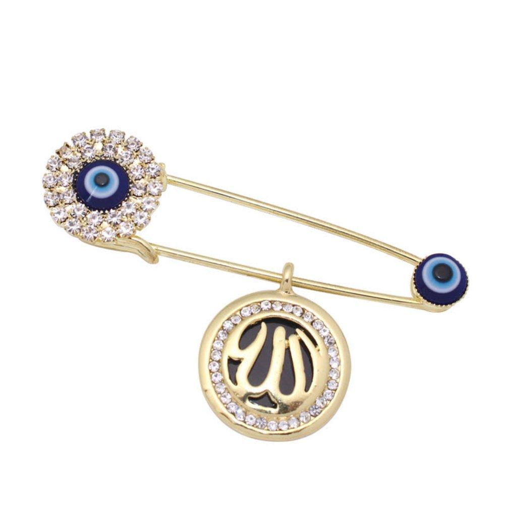 islam muslim Allah evil eye crystal brooch islam jewelry offer Allah Evil Eye Hamza three Scarf Hijab Pin