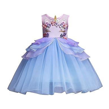 31a001fa77b931 Solike Robe de Soirée Enfant Fille Costume Licorne Robe Florale Princesse  Tutu Jupe Canaval Déguisement de Photographie Cérémonie Anniversaire ...