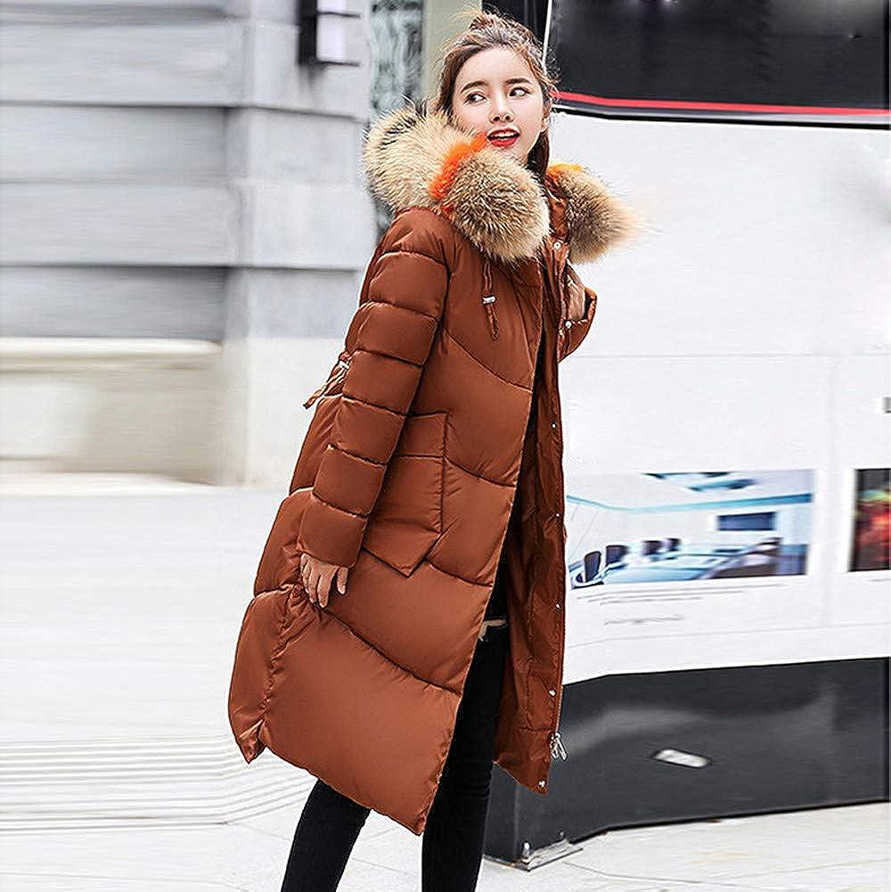 JESPER Women Winter Warm Faux Fur Hooded Thick Down Coats Jacket Maxi Overcoat Pocket Coffee