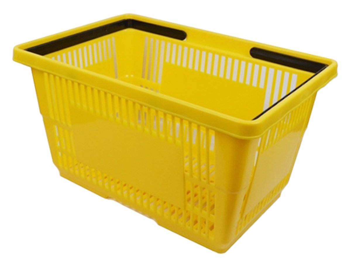Plastic Shopping Basket Grocery Market Handles 18'' L x 12'' W x 10'' H Retail Store Fixture Yellow Lot of 6 NEW