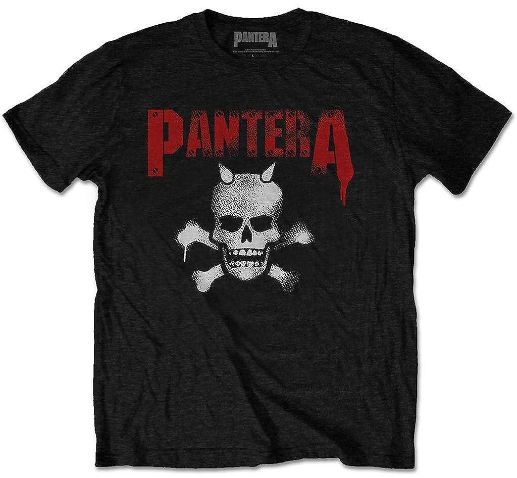 Black Pantera Horned Skull Stencil T-Shirt