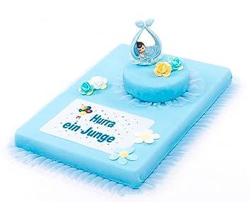 Torten Deko Set Babyparty Hurra Ein Junge 8 Teilig
