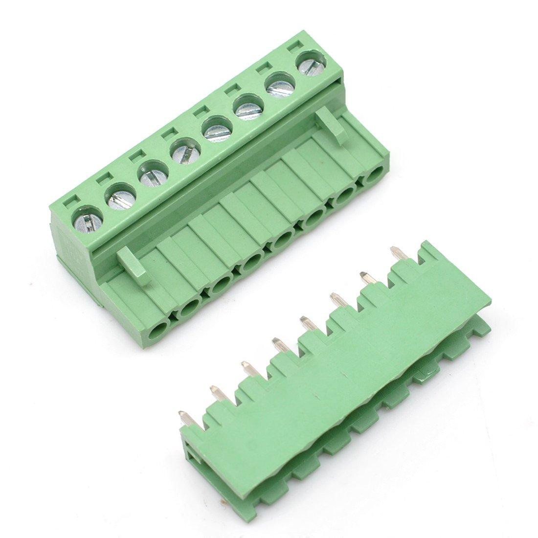 10 Set 9-Pin 5.08mm Pitch Male Female PCB Screw Terminal Block