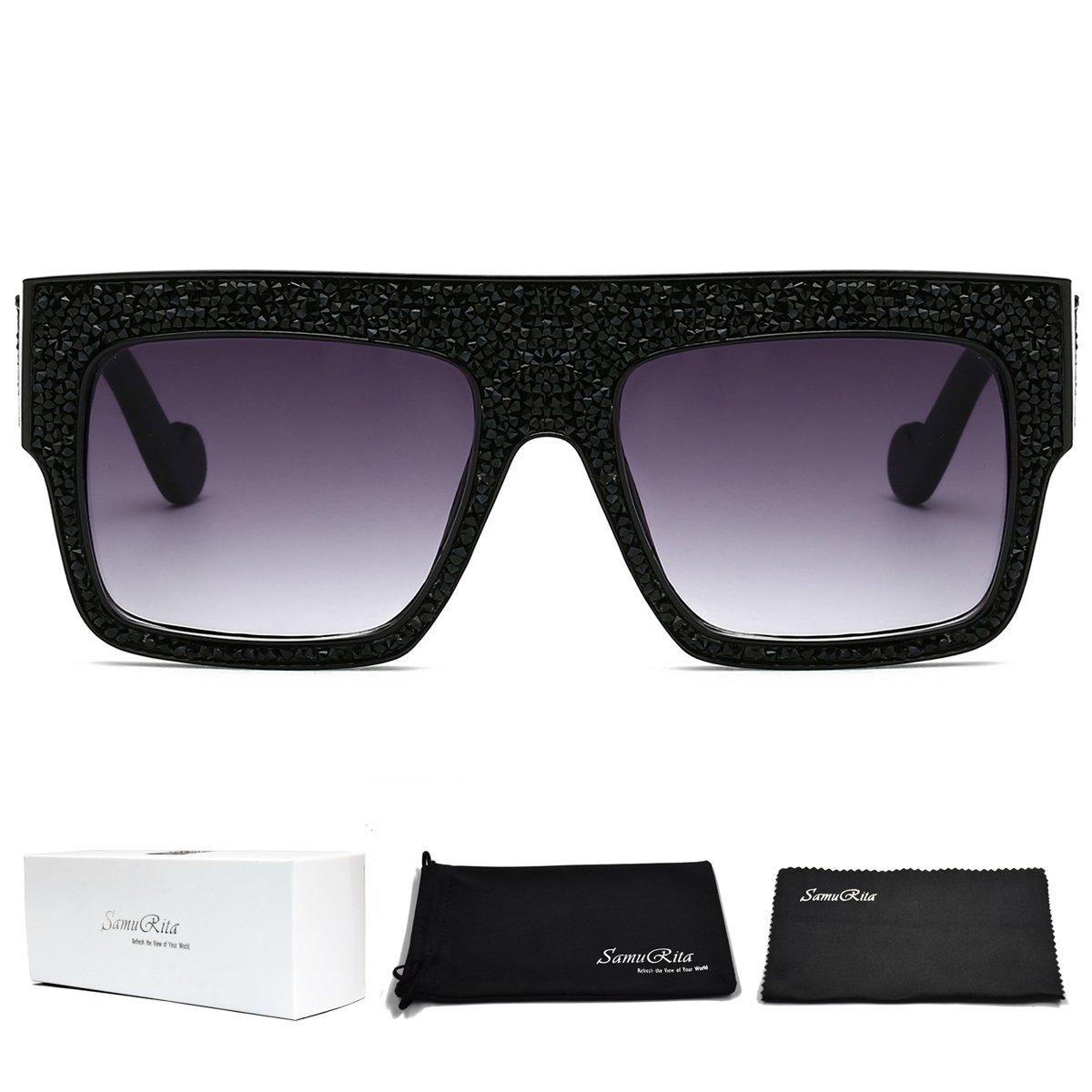 SamuRita Flat Top Square Rhinestone Sunglasses Full Crystal Brand Eyewear(Black Crystal/Black Lenses)