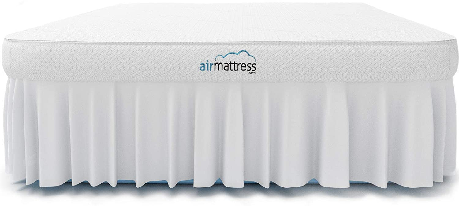 Air Mattress TWIN size - Best Choice RAISED Inflatable Bed with Fitted Sheet and Bed Skirt - Built-in High Capacity Airbed Pump Fox Air Beds