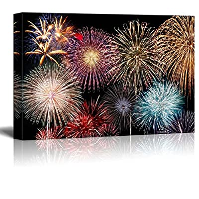 Canvas Prints Wall Art - Colorful Fireworks in Night Sky | Modern Wall Decor/Home Decoration Stretched Gallery Canvas Wrap Giclee Print. Ready to Hang - 12