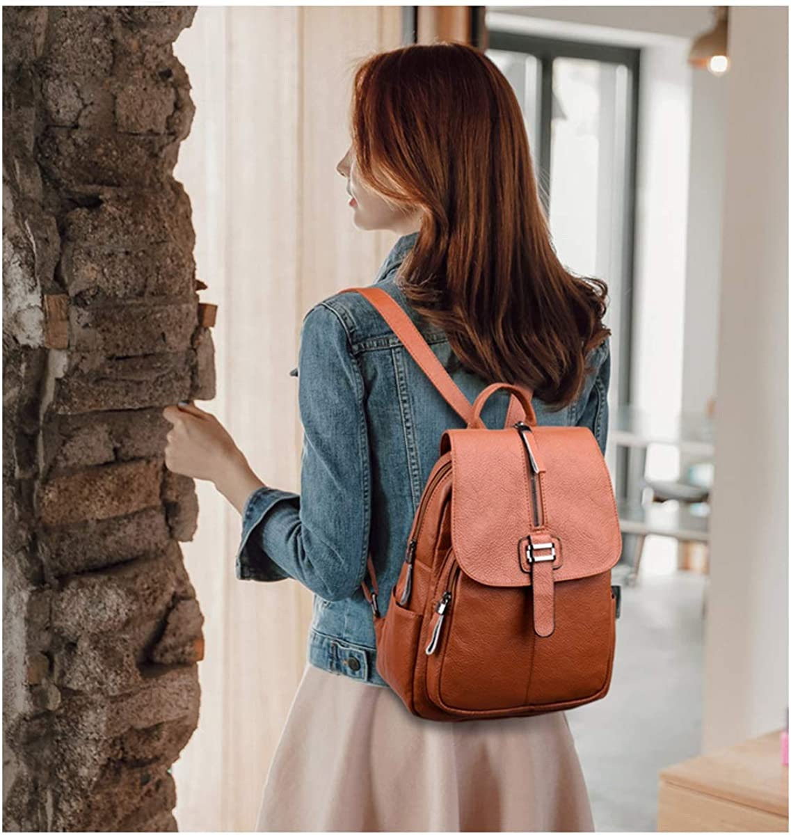 for Women /& Men PU Leather Simple and Practical ZHICHUANG Girls Multipurpose Backpack for Everyday Travel//Outdoor//Travel//School//Work//Fashion//Leisure Black//Brown//Red