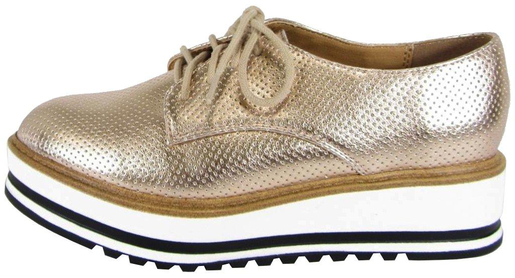 Soda Women's Lace up Platform Wedge Oxford Shoe (11 B(M) US, Dark Penny)