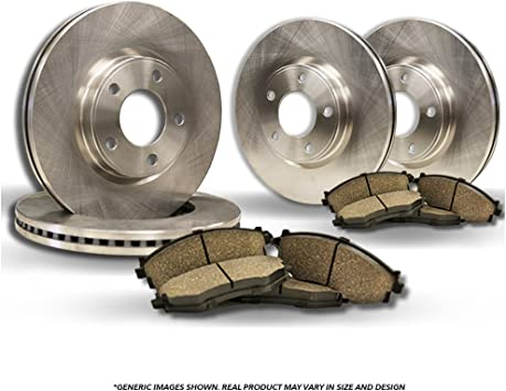 Rotors w//Ceramic Pads OE Brake Kit Front + Rear