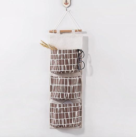 Ouken Puerta Armario Organizador Colgante de Pared envase Estuche 3 Bolsillos Bolsas para Dormitorio y baño (café y Blanco): Amazon.es: Hogar